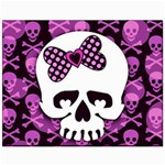 Pink Polka Dot Bow Skull Canvas 11  x 14