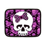 Pink Polka Dot Bow Skull Netbook Case (Small)