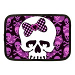 Pink Polka Dot Bow Skull Netbook Case (Medium)