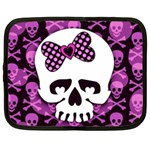 Pink Polka Dot Bow Skull Netbook Case (Large)