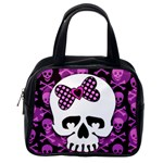 Pink Polka Dot Bow Skull Classic Handbag (One Side)