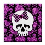 Pink Polka Dot Bow Skull Face Towel