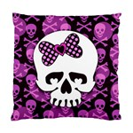 Pink Polka Dot Bow Skull Standard Cushion Case (Two Sides)