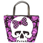 Pink Polka Dot Bow Skull Bucket Bag