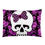 Pink Polka Dot Bow Skull Pillow Case