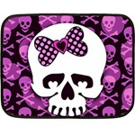 Pink Polka Dot Bow Skull Fleece Blanket (Mini)