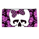 Pink Polka Dot Bow Skull Pencil Case