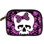 Pink Polka Dot Bow Skull Digital Camera Leather Case