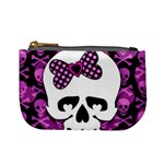 Pink Polka Dot Bow Skull Mini Coin Purse