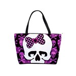 Pink Polka Dot Bow Skull Classic Shoulder Handbag