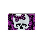 Pink Polka Dot Bow Skull Cosmetic Bag (Small)