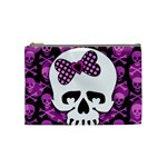 Pink Polka Dot Bow Skull Cosmetic Bag (Medium)