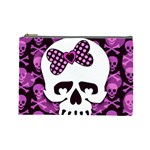 Pink Polka Dot Bow Skull Cosmetic Bag (Large)