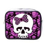 Pink Polka Dot Bow Skull Mini Toiletries Bag (One Side)
