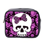 Pink Polka Dot Bow Skull Mini Toiletries Bag (Two Sides)