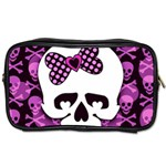 Pink Polka Dot Bow Skull Toiletries Bag (One Side)