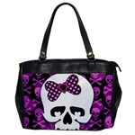 Pink Polka Dot Bow Skull Oversize Office Handbag