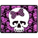 Pink Polka Dot Bow Skull Fleece Blanket (Large)