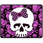 Pink Polka Dot Bow Skull Fleece Blanket (Medium)