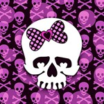 Pink Polka Dot Bow Skull Magic Photo Cube