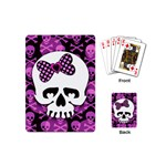 Pink Polka Dot Bow Skull Playing Cards Single Design (Mini)