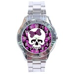 Pink Polka Dot Bow Skull Stainless Steel Analogue Watch