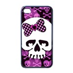 Pink Polka Dot Bow Skull iPhone 4 Case (Black)