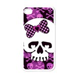 Pink Polka Dot Bow Skull iPhone 4 Case (White)