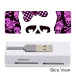 Pink Polka Dot Bow Skull Memory Card Reader (Stick)