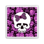 Pink Polka Dot Bow Skull Memory Card Reader (Square)