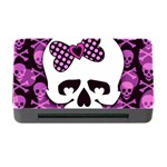 Pink Polka Dot Bow Skull Memory Card Reader with CF