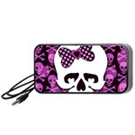 Pink Polka Dot Bow Skull Portable Speaker (Black)