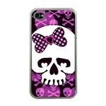 Pink Polka Dot Bow Skull iPhone 4 Case (Clear)