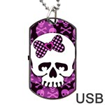 Pink Polka Dot Bow Skull Dog Tag USB Flash (One Side)