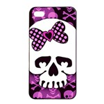 Pink Polka Dot Bow Skull iPhone 4/4s Seamless Case (Black)