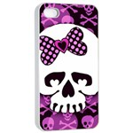 Pink Polka Dot Bow Skull iPhone 4/4s Seamless Case (White)