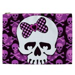 Pink Polka Dot Bow Skull Cosmetic Bag (XXL)