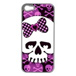 Pink Polka Dot Bow Skull iPhone 5 Case (Silver)