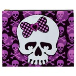 Pink Polka Dot Bow Skull Cosmetic Bag (XXXL)