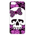 Pink Polka Dot Bow Skull iPhone 5 Seamless Case (White)