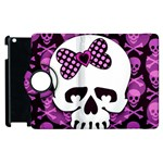 Pink Polka Dot Bow Skull Apple iPad 2 Flip 360 Case