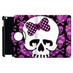 Pink Polka Dot Bow Skull Apple iPad 3/4 Flip 360 Case