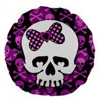 Pink Polka Dot Bow Skull Large 18  Premium Round Cushion