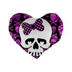 Pink Polka Dot Bow Skull Standard 16  Premium Heart Shape Cushion