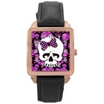Pink Polka Dot Bow Skull Rose Gold Leather Watch