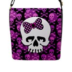 Pink Polka Dot Bow Skull Flap Closure Messenger Bag (L)
