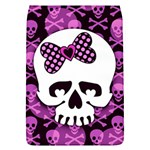 Pink Polka Dot Bow Skull Removable Flap Cover (L)