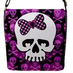 Pink Polka Dot Bow Skull Flap Closure Messenger Bag (S)