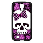 Pink Polka Dot Bow Skull Samsung Galaxy S4 I9500/ I9505 Case (Black)