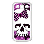 Pink Polka Dot Bow Skull Samsung Galaxy S3 Back Case (White)